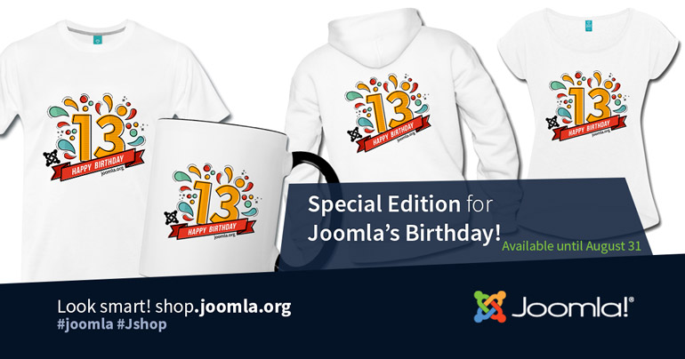 Special Joomla 13th Birthday items available from the Joomla Shop for a limited time