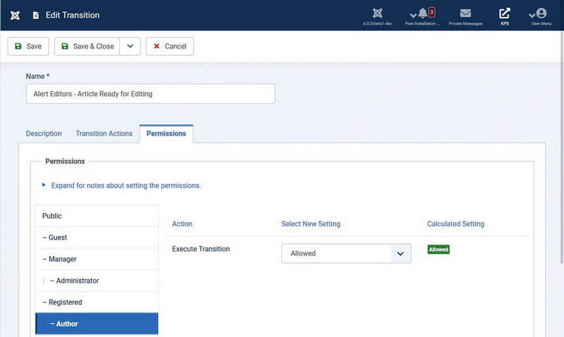 Workflow Permissions - Joomla 4 Workflows
