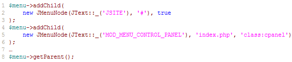 code for menu items in the admin menu