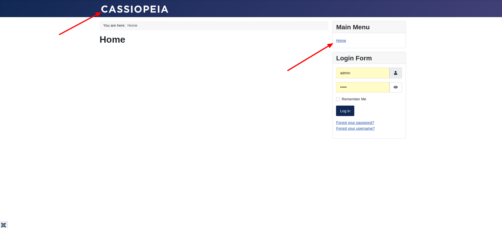 Frontend of a fresh Joomla 4 installation with Cassiopeia - menu in the sidebar