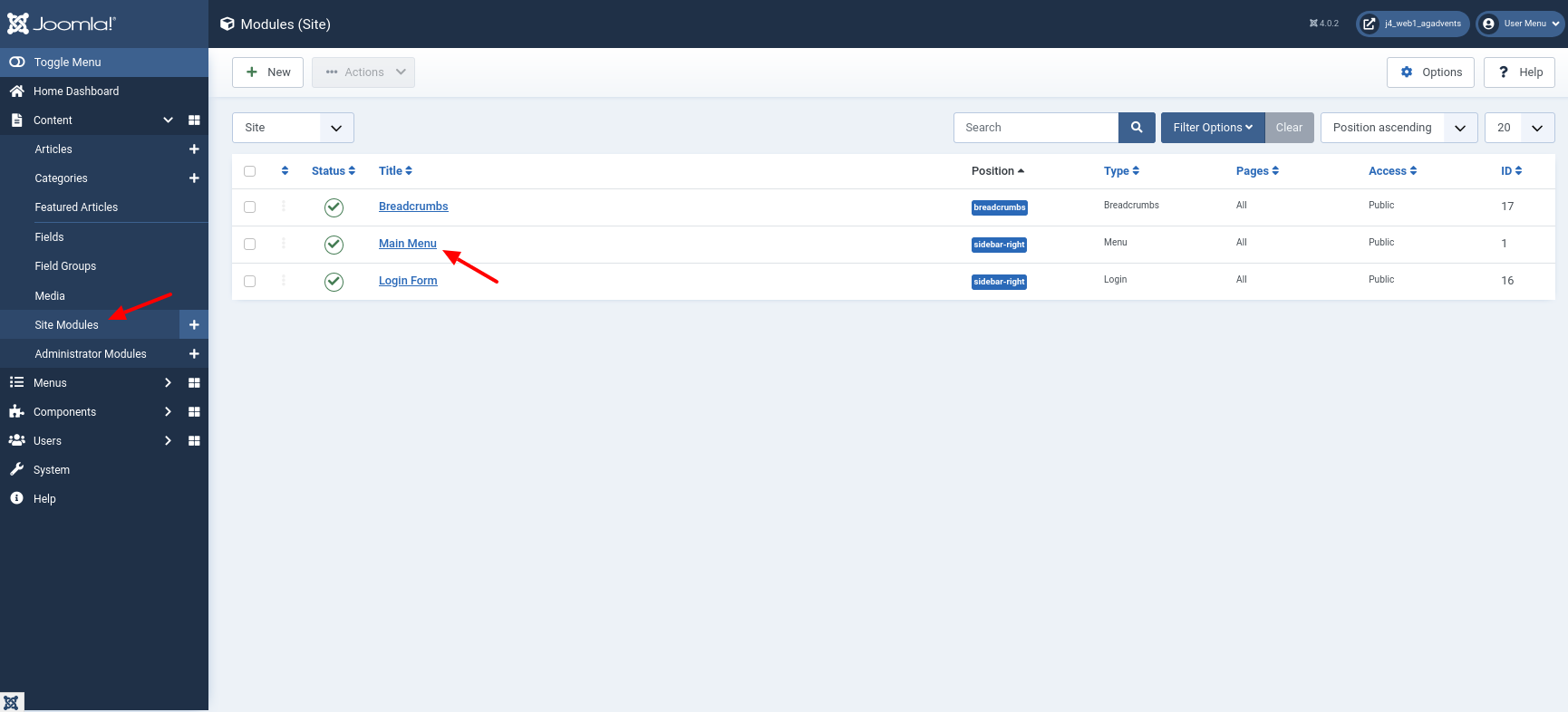 Frontend of a fresh Joomla 4 installation with Cassiopeia
