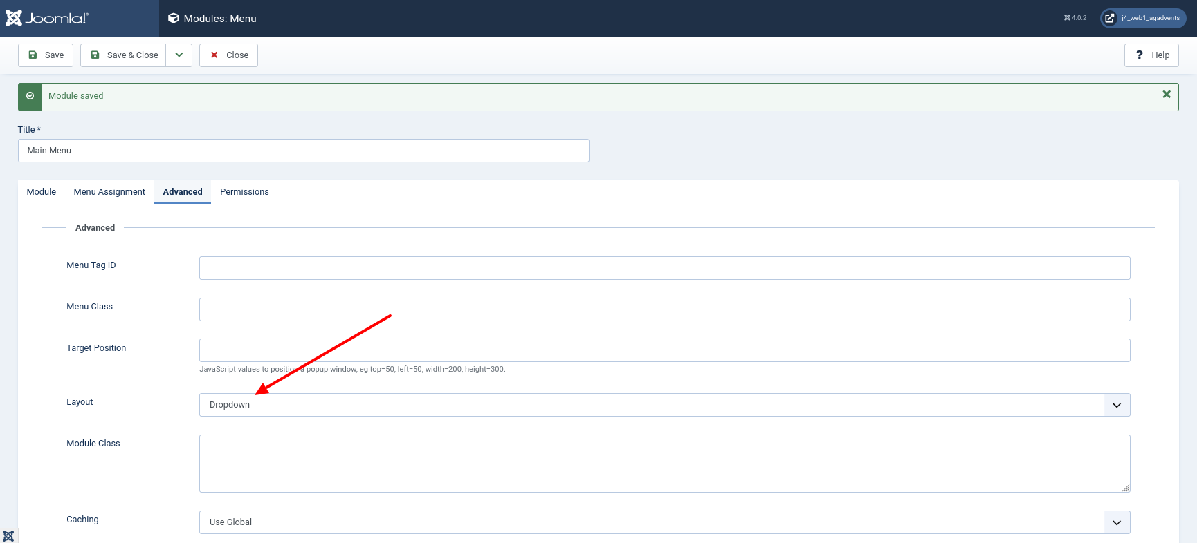 Frontend of a fresh Joomla 4 installation with Cassiopeia Dropdown