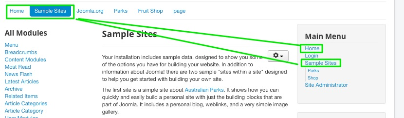 Joomla Sample Data Installation - notice how the top menu and side menu share some links. The top menu in the sample data is constructed mostly of Menu Item Aliases and other System Links.