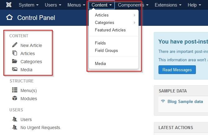 Screenshot Joomla Control Panel