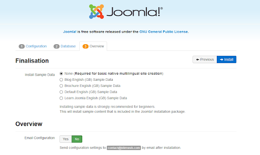 Screenshot Joomla Installation option to install sample data