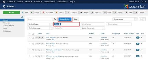 Screenshot Search Tools selected