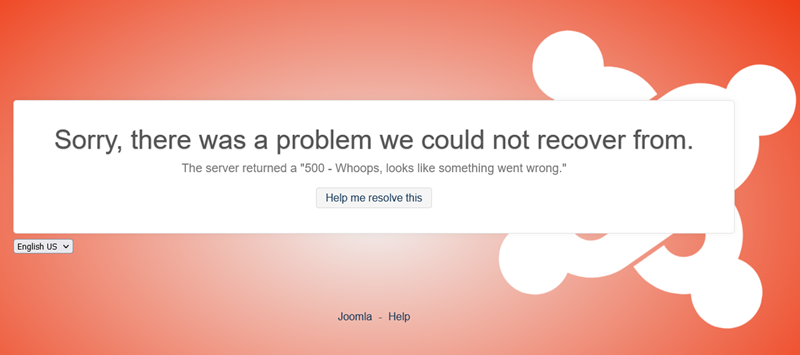 Joomla Error: Sorry, there was a problem we could not recover from.