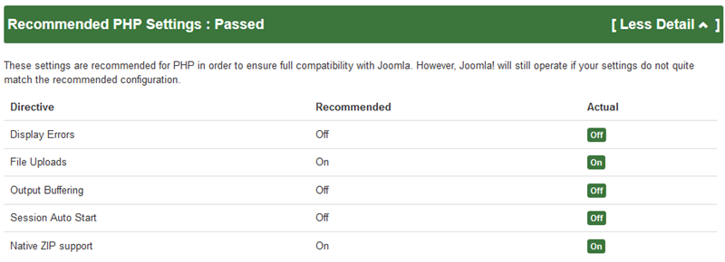 Pre-Update Check results: Recommended PHP Settings