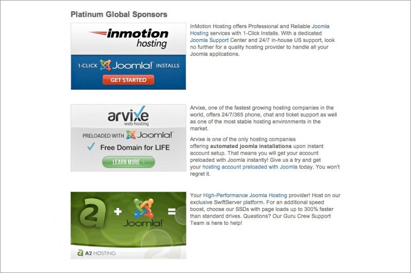 Meet The Joomla Global Sponsors