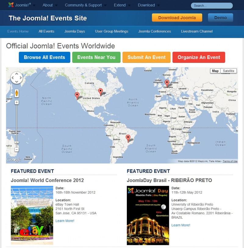 Lanzamiento del sitio de Eventos Joomla!