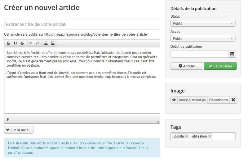 La création d'un article avec Joomla! n'a jamais été aussi facile !