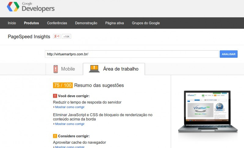 Google Page Insights para optimizar la carga de Joomla