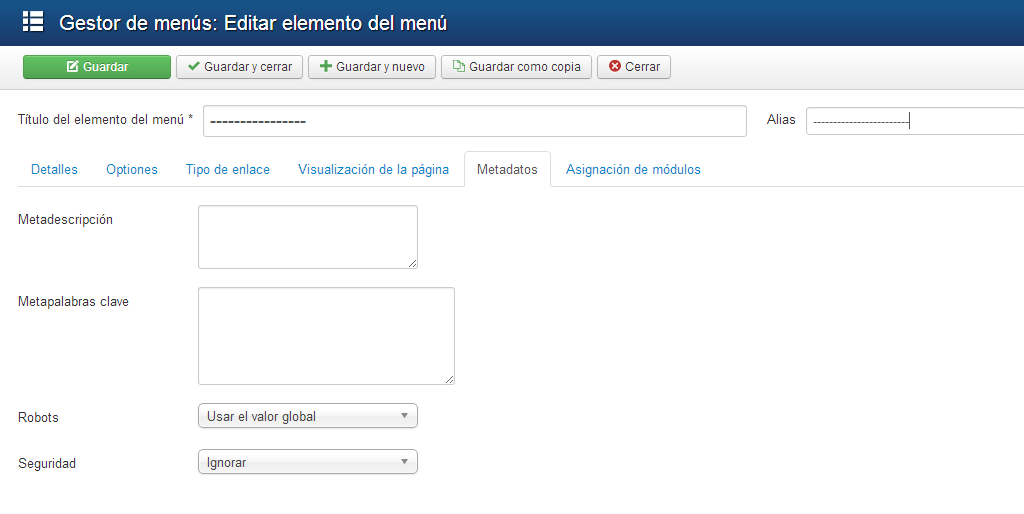 Metadatos en menu joomla