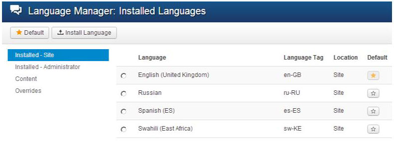 languages installed