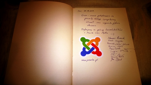Our Joomla! Footprint in the Visitors' Book in restaurant DUKAT