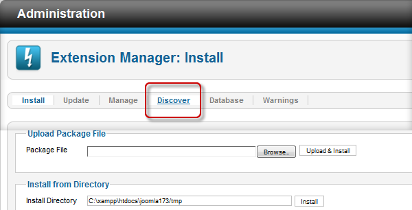 Choose Discover tab in Extension Manager
