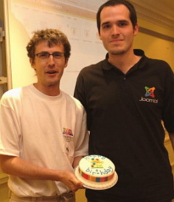 Brian Teeman and Johan Janssens celebating our first birthday.