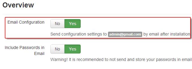 Receba as configurações de instalação enviado para sua caixa de entrada