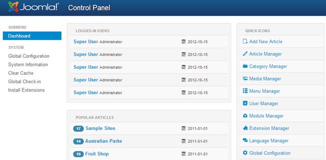Joomla 3,0 dashboard