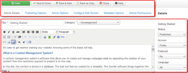 vs artigo tela de edição em Joomla 3,0