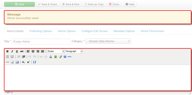No worry! Saving blank articles are NOW acceptable with Joomla 3.0