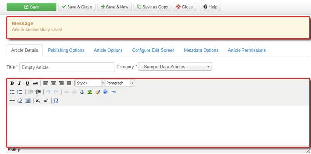 Não se preocupe! Salvando artigos em branco agora são aceitáveis com Joomla 3,0