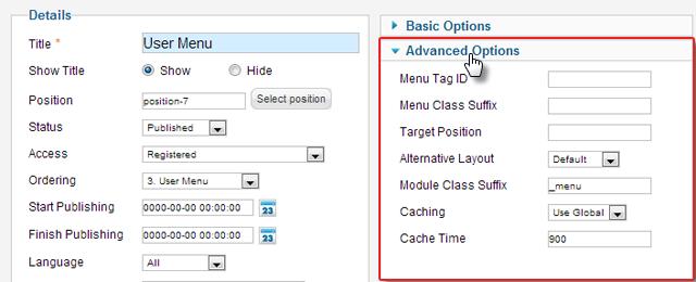 O seu habitual e limitado as configurações do módulo em Joomla 2,5