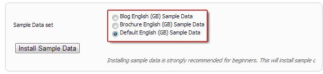 Três conjuntos de dados de amostra em Joomla 2,5
