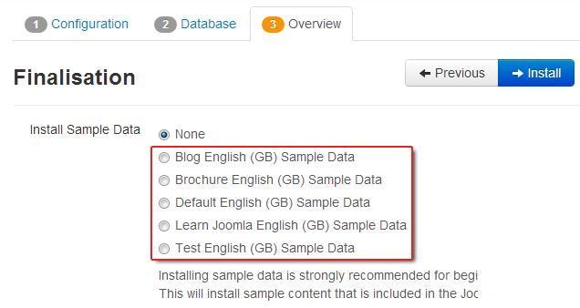 contra cinco conjuntos de dados de exemplo no Joomla 3,0