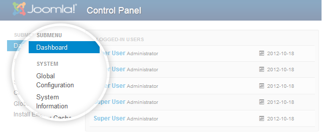 Complemented menu on the left panel in Joomla 3.0