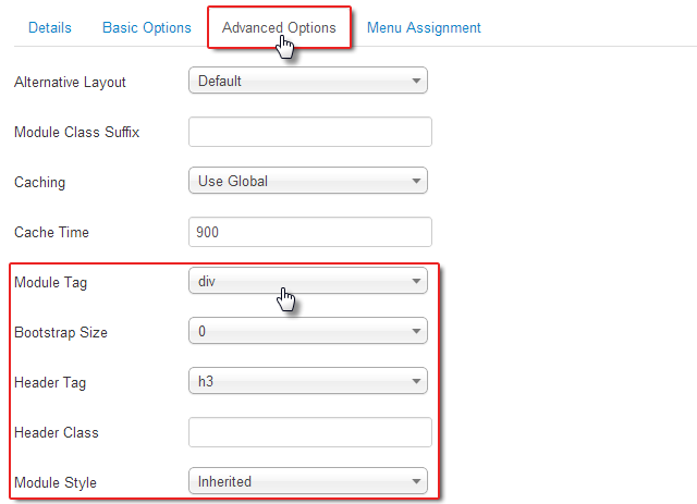 Advanced module settings in Joomla 3.0
