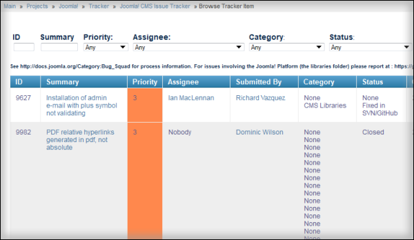 The Issue Tracker| Joomla Core team