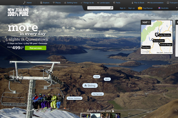 parallax design new zealand website