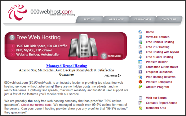 Free web hosting services | 000webhost's screenshot