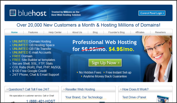 Premium web hosting provider | Bluehost's screenshot