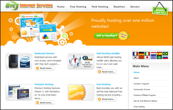Free web hosting services | Byethost's Screenshot