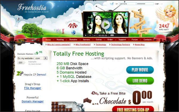 Free web hosting services | Freehostia's screenshot