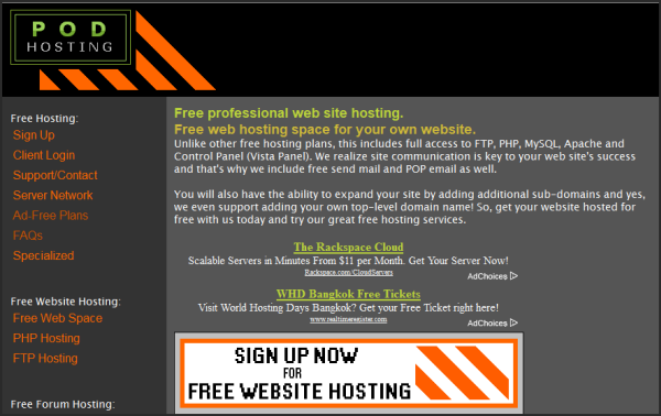 Free web hosting services | Podserver's screenshot