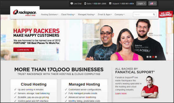 Premium web hosting provider | Rackspace's screenshot