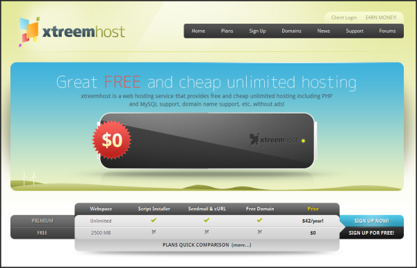 Free web hosting services | Xtreemhost's screenshot