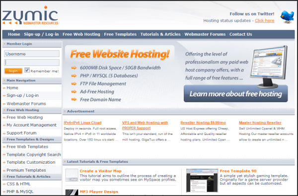 Free web hosting services | Zymic's Screenshot