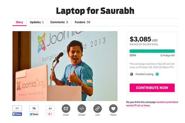 Laptop for saurabh Indiegogo funraising Campaign