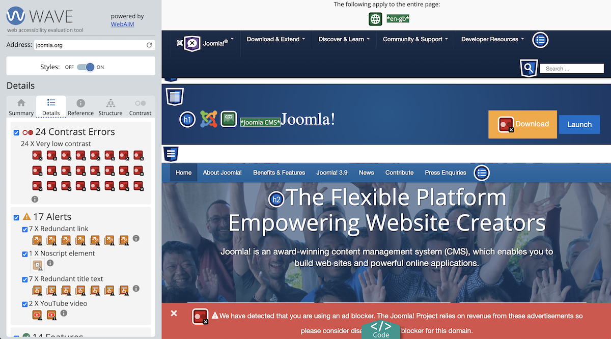 WAVE test for Joomla.org screenshot where all issues are marked on the website with different labels